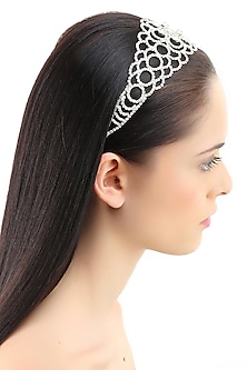 Rhodium plated stones jaal design elasticated headband