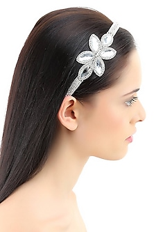 Rhodium plated big crystal petal design elasticated headband