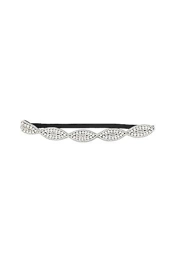 Rhodium plated stones in oval design elasticated headband by Bansri