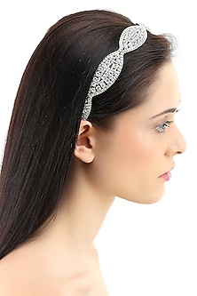 Rhodium plated stones in oval design elasticated headband by Bansri