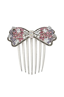 Set of 2 rhodium plated pink and purple stone bow haircomb by Bansri