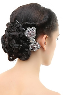 Set of 2 rhodium plated pink and purple stone bow haircomb