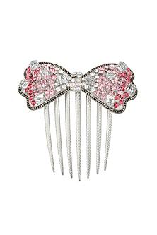Set of 2 rhodium plated shades of pink stone bow haircomb by Bansri