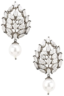 Rhodium Plated Zircons and Faux Pearl Earrings by Bansri