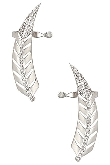 Rhodium Plated Stones Leaf Earcuffs by Bansri