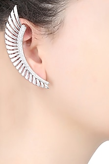 Rhodium Plated Stones Feather Earcuffs