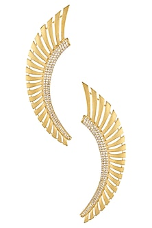 Gold Plated Stones Feather Earcuffs by Bansri