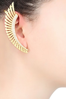 Gold Plated Stones Feather Earcuffs