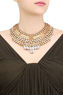 Matte Gold Plated White Crystal Mesh Statement Necklace by Bansri