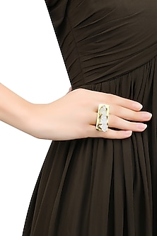 Gold Plated Uncut Crystal Stone Statement Ring