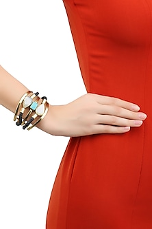 Gold Plated Layered Statement Cuff by Bansri