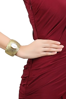 Gold Plated Ivory Crystals Stone Textured Cuff by Bansri