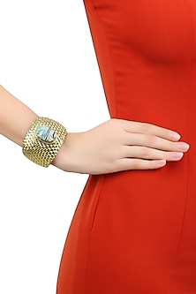 Gold Plated Blue Crystals Stone Textured Cuff