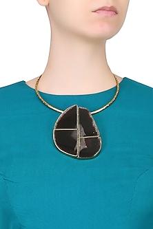 Gold Plated Smokey Stone Choker Necklace by Bansri