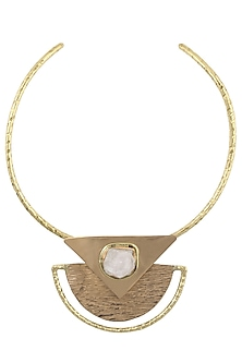 Gold Plated White Crystal Choker Necklace by Bansri