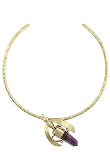 Gold Plated Purple Crystal Bug Choker Necklace by Bansri