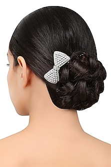 Rhodium Silver Plated Bow Shape Motif Hairpin by Bansri