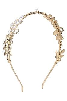 Rhodium Gold Plated Leaf Motifs Hairband by Bansri