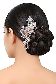 Rhodium Plated Multicolored Swarovski Crystals Haircomb by Bansri