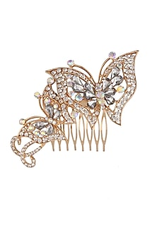 Rhodium Plated Swarovski Crystal Butterfly Shape Haircomb by Bansri