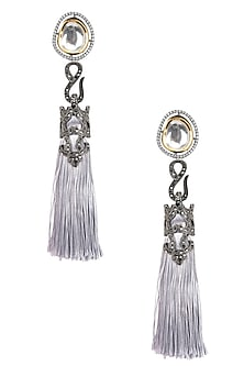 Gold Finish Grey Thread Tasseled Earrings by Bansri