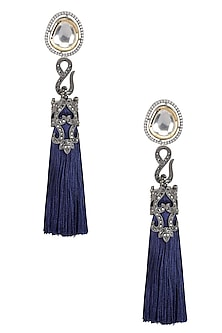 Gold Finish Blue Thread Tasseled Earrings by Bansri