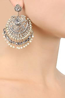 Gold Finish Crystal and Pearl Studded Chandbali Earrings