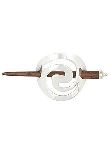 Rhodium Plated Spiral Hair Pin by Bansri