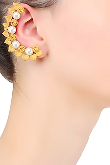 Gold Plated Pearls Leaf And Flower Earcuff