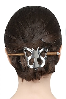 Rhodium Plated Butterfly Hair Pin by Bansri