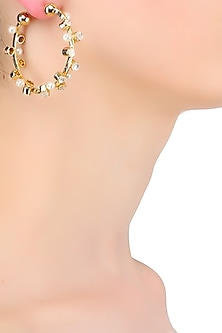 Gold Plated Crystal Stone And Pearl Hoop Earrings by Bansri