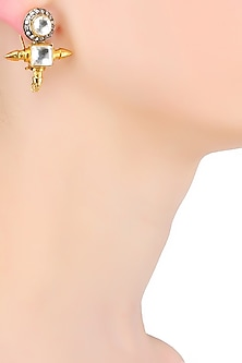 Gold Plated Crystal Stone Bullet Earrings by Bansri