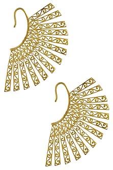 Rhodium plated ornamental golden earcuff earrings by Bansri
