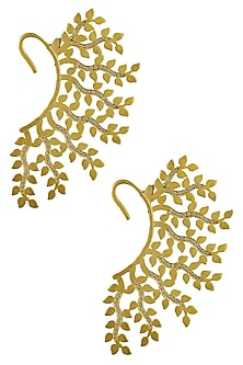 Rhodium gold plated leaf pattern earcuff earrings by Bansri