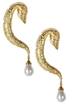 Rhodium plated serpentine motif earrings by Bansri