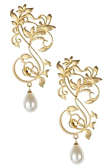 Rhodium plated floral pattern earrings with pearl drop by Bansri