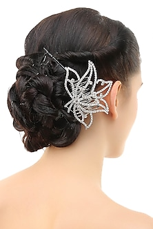 Rhodium plated crystals lotus design hairpin by Bansri