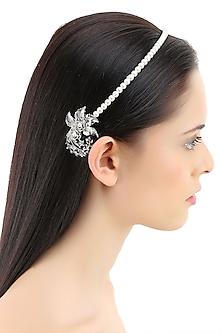 White pearl metal flower headband by Bansri