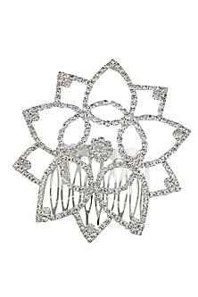Rhodium plated crystal flower hairpin by Bansri