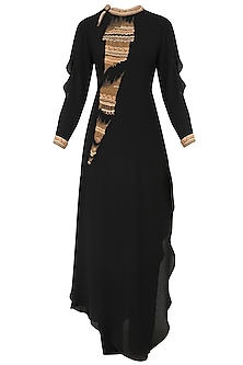 Black Hand Embroidered Band Collar Tunic and Pants Set