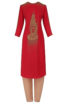Red Hand Embroidered Tunic and Pants Set by Nitin Bal Chauhan