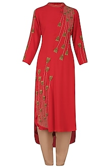 Red Thread and Bead Embroidered Tunic and Pants Set