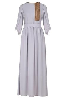 Powder Grey Zardozi Work Full Length Dress