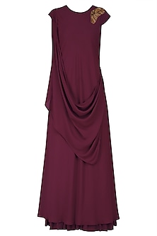 Maroon Zardozi Work Full Length Dress