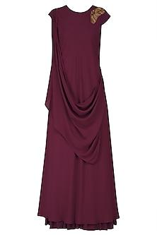 Maroon Zardozi Work Full Length Dress