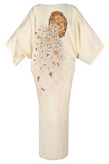 White Beadwork Bell Sleeves Abaaya