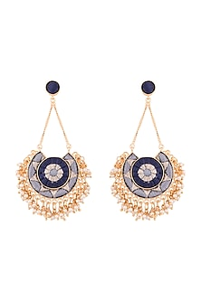 Matte Gold Finish Embroidered Pearl Circular Moon Long Chain Earrings by Bauble Bazaar
