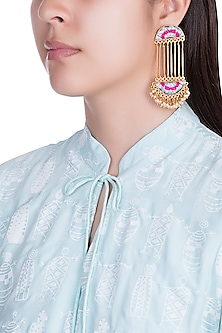 Matte Gold Finish Embroidered Long Chain Earrings by Bauble Bazaar