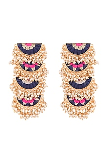 Matte Gold Finish Embroidered Pearl Layered Long Earrings by Bauble Bazaar