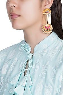 Matte Gold Finish Embroidered Pearl Long Chain Earrings by Bauble Bazaar